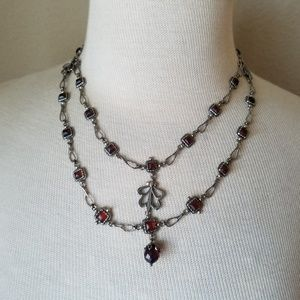 Vintage Look Silver Amber Victorian Necklace